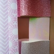 Fabric selection box for hair bow making, printed backed fabrics glitters fine and chunky