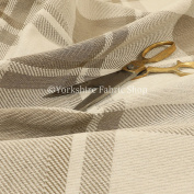 Traditional Checked Tartan Pattern Beige Brown Colour Soft Woven Chenille Fabric