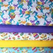 EASTER FABRIC BUNDLE - 5 Fat Quarters each 55 cm x 50 cm - STUFB15 - Chicks Eggs Bunnies - Kids Fabric Childrens Fabric - by Studio E - 100% Cotton