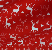 Red 100% Craft Cotton with White Reindeer & Hearts Print