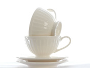 2 Ivory Cream Fine Ironstone China Espresso Cups and Saucers in Step Design