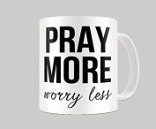 Hiros®Pray More Worry less 330ml gift Mug For Anyone , Birthday Gift , Christmas Gift , Gift For Child , Back to school , Office colleague , Ceramic Gift Mug.