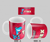 Hiros®T-Rex Themed Dinostory T-Rex 330ml gift Mug For Anyone , Birthday Gift , Christmas Gift , Office colleague , Ceramic Gift Mug.