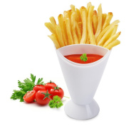 Affe French Fries Cone with Dipping Cup BPA Free Kitchen Potato Tool Tableware Ketchup Snack Holder