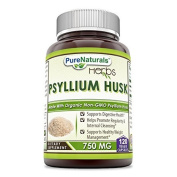 Pure Naturals Psyllium Husk - 750 mg Platango Ovata Fibre Capsules - Gentle Alternative to Harsh Colon Cleanse Products for Promoting Regularity - 120 All Natural Veggie Capsules Per Bottle