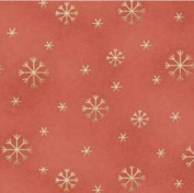 Cotton Fabric - Metre - Red Rooster - All Things Christmas - Gold Snowflakes On Red