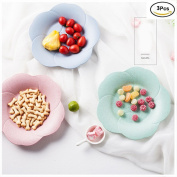 YOOKOON 3Pcs Cherry Shape Wheat Straw Candy Plate Rice Shell Biodegradable Living Room Coffee Table Decor