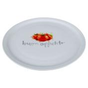 Italia Pizza Plate Red Tomato Design Crisp White Finish Great Gift For Pizza Lovers
