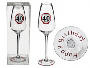 Champagne Glasses Happy Birthday 40 Approx. 23 cm in PVC Box