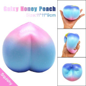 Stress Reliever Toys, TUDUZ Newest Funny Creative Kawaii 11CM Galaxy Honey Peach Cream Scented Squishy Slow Rising Squeeze Strap Kids Toy Stress Reliever