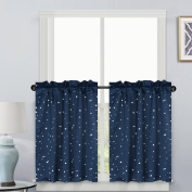 Thermal Insulated Light Reducing Curtain Drapes Room Darkening Rod Pocket Top Kitchen Curtain Tier Set for Kids - Navy Glitter Star Pattern-