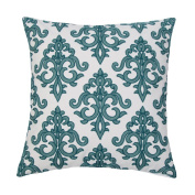 SLOW COW Cotton Embroidery Throw Pillow Covers, Super Soft Invisible Zipper Euro Decorative Cushion Covers for Sofa Bedroom, Teal, 46cm x 46cm .
