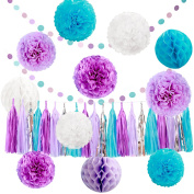 Party Decorations Set , 33 Pcs Tissue Pompoms ,Paper Tassels,Honeycomb Balls and Dot Paper Garland - Great for Baby Shower Birthday Party, Weddings