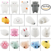 Squishies, Tinabless 18 Pcs Kawaii Squishy Cat Anxiety Reliever Toys For Kids Adults, Mini Squishies Mochi Animals Stress Toys