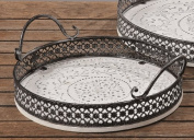 Wooden Serving Trays Shabby Chic Vintage Look White D 28 cm
