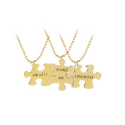 """HS """"we will always be connected"""" 3pcs Puzzle Best Friends Forever Necklace Matching Engraved Letter Chains"""