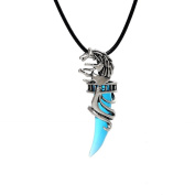 GUAngqi Men's Stainless Steel Crystal Wolf Tooth Pendant Necklace ,blue