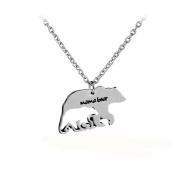 GUAngqi Mama Bear Pendant Necklace Engraved Bar Necklace Dog Tag Necklace Jewlery