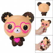 Transer Cute Glasses Bear Soft Cartoon Doll Squeeze Squishy Slow Rising Package Gift Kids Toy