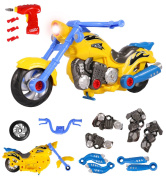Take Apart Toy Motorcycle - Build Your Own Motor Bike, Fix Remodel, Ride and Play with Included Power Drill - Lights and Sounds - More Than 20 Pieces - by ToyThrill