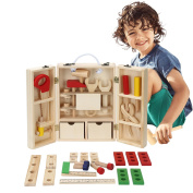 BATTOP Wooden Tool Box Pretend Play Educational Construction Toy for Kids
