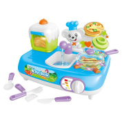 Teemway Unisex Kids Electric Play Food Pretend Cooking Set with Light and Sound