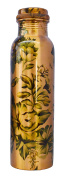 Pure Copper Flower Printed Water Bottle for Ayurvedic Health Benefits Joint Free Leak Proof