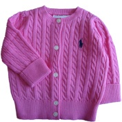 Ralph Lauren Polo Baby Girls Cable Knit Cotton Cardigan Pink 24 MTHS