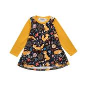 WINWINTOM Girls Dresses, Kids Baby Cute Animal Cartoon Fox Print Sun Long Sleeve Clothes Toddler Spring Summer Outfits