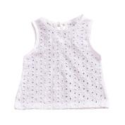 ESHOO Baby Girls Summer Pierced Suspenders White Sleevless Top