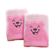 Affe 2 Pcs/Lot Cute Bear Pattern Baby Face Towel Absorbent Water Cotton Wipe Washcloths