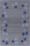Kids rug Happy Rugs BORDERSTAR silver-grey/blue 160x230cm