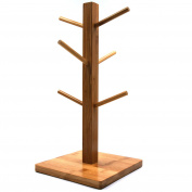 Mug Rack Tree, Removable Bamboo Mug Stand, Storage Coffee Tea Cup Organiser Hanger Holder with 6 Hooks