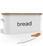 Country Extra Large Bread Box + Bamboo Cutting Board + Ceramic Knife (Extra Large) - Food Storage - Non Toxic - Eco Friendly