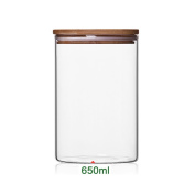 Newerlives Air Tight Storage Jar, Glass Storage Tank with a Natural Bamboo Lid, 450 ML, 650 ML, 950 ML