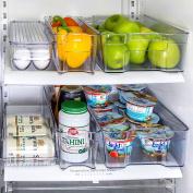Refrigerator Organiser set of 6 Storage Bins, Including Drink Holder and Egg Holding Tray, by Kitchen Shaq
