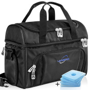 Lavington Insulated Cooler Bag - Large Lunch Bag - Picnic and Travel Tote -Free 4 mini Ice Packs Included - Multiple Pockets & Insulated Compartments - Durable Zippers & Handles.