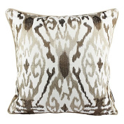 Homey Cosy Woven Cotton Throw Pillow Cover,Beige Series Ivory and Beige Brown Decorative Square Couch Cushion Pillow Case 50cm x 50cm , Cover Only