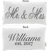Country House Collection Primitive Cotton 30cm x 15cm Throw Pillow (Mr. & Mrs.)
