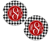 Black Houndstooth Personalised Monogram Sandstone Car Cup Holder Matching Coaster Set