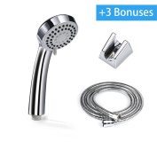Shower Head, Blusmart 3 Function Handheld Showerhead, High Pressure Rainfull Chrome Finish Head with 150cm Stainless Steel Hose, Bathroom Accessories with Bracket, Screws and Teflon Tape