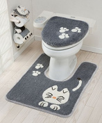 Tortoise Pretty Cat Series Toilet Lid cover Bathroom Grey 46714 from Japan