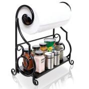 MyGift Metal Kitchen Countertop Paper Towel Holder Bar with Condiment Shelf Rack
