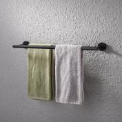 KES 60cm Double Towel Bar Bathroom Shower Organisation Bath Dual Towel Hanger Holder Black SUS 304 Stainless Steel Finish, A2001S24-BK