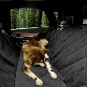 Extra Large Luxury Dog Car Seat Cover With Anchors for Car, Truck and SUV,Thick Durable Non-Slip Backing and Hammock Convertible, Pet Seat cover, Black