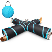 4 Way Cat Tunnel ,Creaker Collapsible Pet Play Tunnel Tube Toy with a Bell Toy & a Soft Ball Toy for Cat, Puppy, Kitty, Kitten, Rabbit