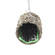 Emours Natural Sea Grass Hammock Play Tunnel Hanging Bed Toy House for Pet Rat Hamster