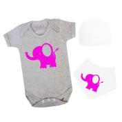 APRON HAUS Cute Elephant Baby Grow With Bandana Bib Set