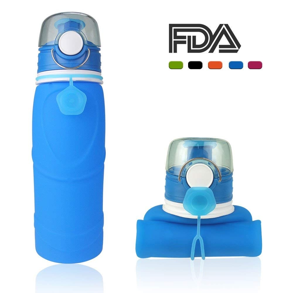 99ea7610feb8 Collapsible Water Bottles 750ml Silicone Foldable Water Bottles for Travel  Sports Drinking Bottle Camping Canteen with Leak Proof Valve-100% BPA ...