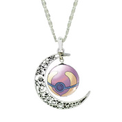 Mnpkmn - Pokemon Go Necklace Pokeball 'Pokeball Ball With Double Moon Pendant And Cabochon In 7